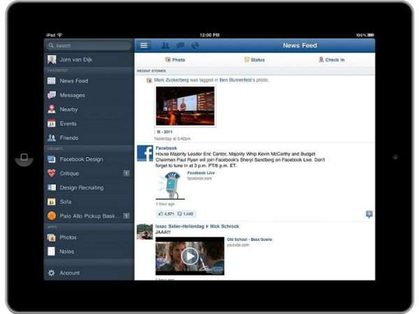 Facebook for iPad App