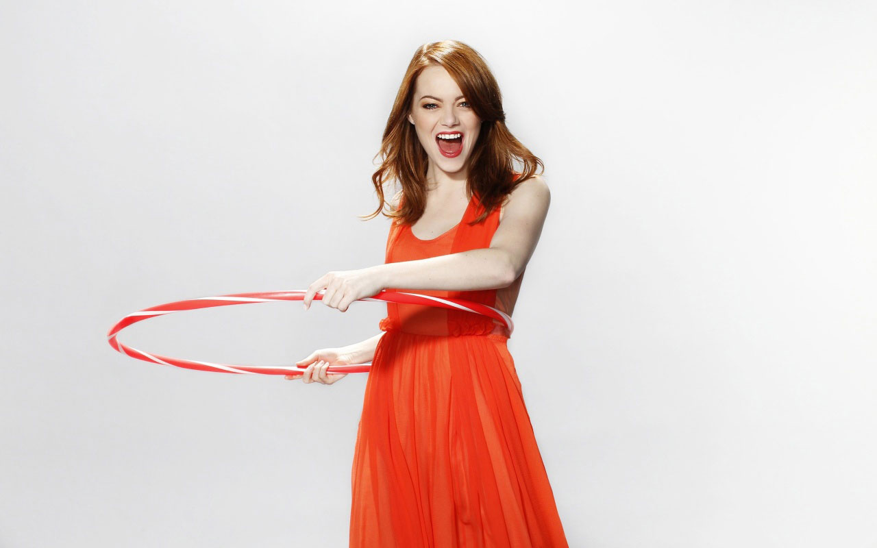 Emma Stone Wallpaper in Orange Dress